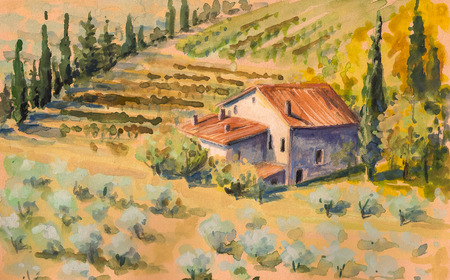 Country landscape with typical Tuscan hills in Italy  Watercolors painting   Stock Photo