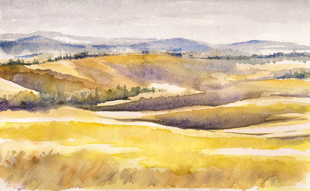pastoral: Country landscape with typical Tuscan hills in Italy  Watercolors painting   Stock Photo