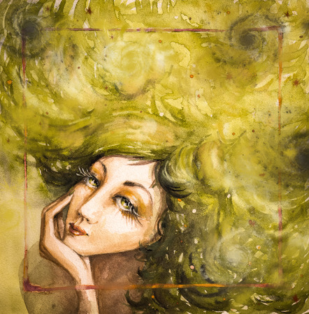 Portrait of beautiful woman with green hair Picture created with watercolors