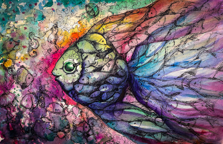 Shoal of fish on the coral reef Picture created with watercolors  写真素材