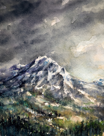 Mountains after rain Picture created with watercolors  photo