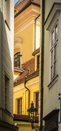 Beautiful narrow street in Old Town of Prague,Czech Republic  photo