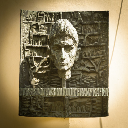 existentialism: PRAGUE, CZECH REPUBLIC - MAY 23, 2014  Plaque marking the birthplace of Franz Kafka in Prague He was a Jewish writer from Prague and is one of the world�s most renowned writers of the 20th century