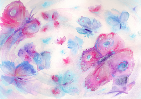 Handmade nature background with colorful butterflies Watercolors  photo