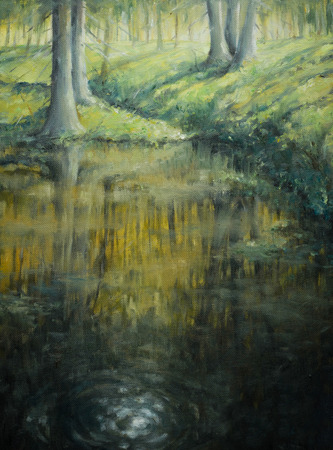 Pond in sunrise forest Picture painted with oil colors photo