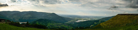 sola: Panorama photo of  Beskid mountains with Sola river  ,Poland