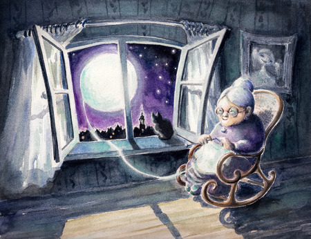 Grandmother knitting a sweater with a lunar light Picture created with watercolors  photo