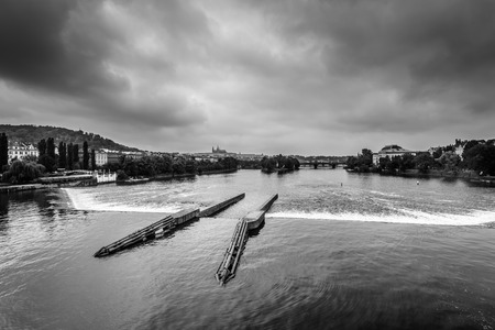 Monochrome photo of Vltava river in Prague,czech Republic  photo