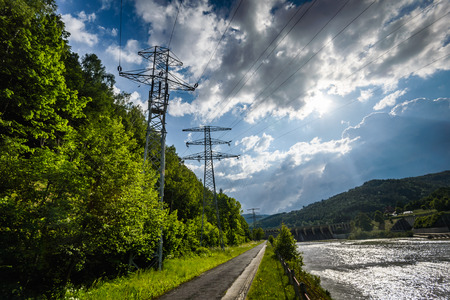 sola: Electric cables from waterdam on Sola river- Porabka , Beskid zywiecki ,Poland