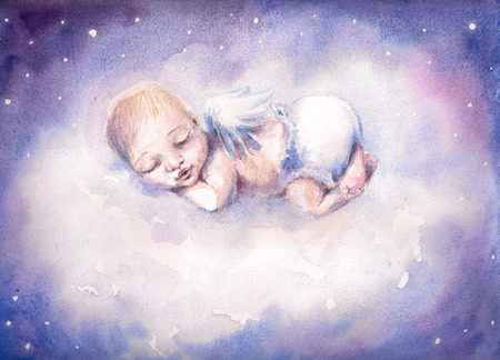 Sleeping newborn baby with angel wings Picture created with watercolors