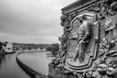 legion:  Street light details-relief bass   Legion Bridge in Prague,Czech Republic  Stock Photo
