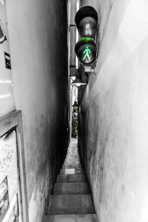 Narrow alley with novel solution to pedestrian traffic  Prague,Czech Republic  photo