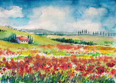 Landscape with colorful flowered field in Tuscany, Italy Picture created with watercolors on paper