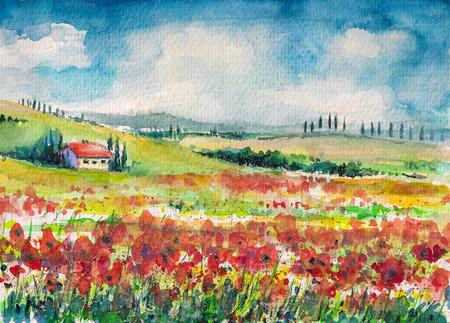 Landschap met kleurrijke bloemen veld in Toscane, Italië Foto gemaakt met waterverf op papier Stockfoto