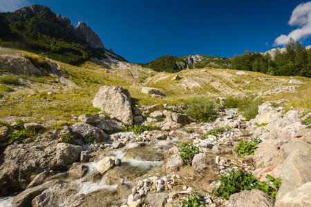 Amazing landscape with mountains and river. Julian Alps,Slovenia. photo