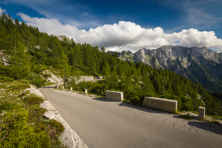 Mangart road-highest road in Slovenia.Julian Alps. photo
