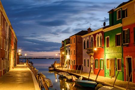 Colorful houses in Burano at dusk, Venetian Lagoon,Italy. photo