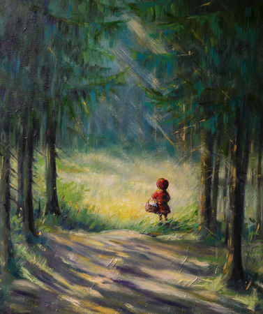 a small painting: Little Red Riding Hood fairy tale.Picture created with acrylic colours. Stock Photo