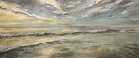 Sea after storm.Acrylic painting on canvas.