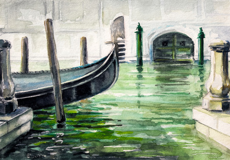 venezia: Gondola in canal in Venice watercolor painted.
