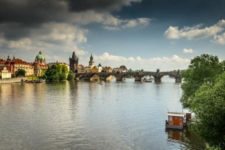 Lesser Bridge Tower of Charles Bridge in Prague ,Czech Republic .