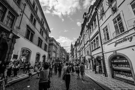 PRAGUE, CZECH REPUBLIC, MAY 24:Crowd of people in streets in Prague,Czech