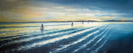lyrical: Venice lagoon at sunset painted by oil on a canvas. Stock Photo