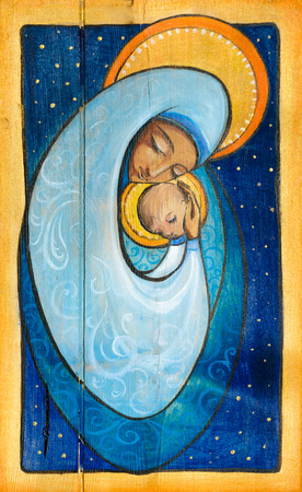 vierge marie: Madonna et enfant Jésus peints sur un bois.