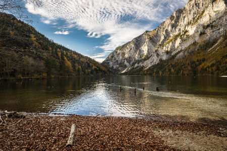 Landscape with root in lake water and mountains in background.Leopoldsteiner see,Styria,Austria. photo