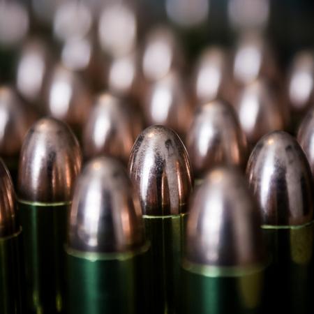 Closeup of cartridges pistols ammo. Stock Photo