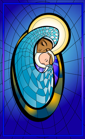 Vector illustration of Madonna and infant Jesus. Stock Illustratie