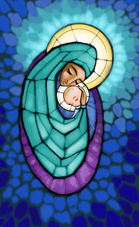 Illustration of Madonna with infant Jesus in her arm .