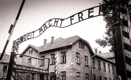 auschwitz memorial: Arbeit macht frei sign (Work liberates) in concentration camp Auschwitz, Poland Editorial