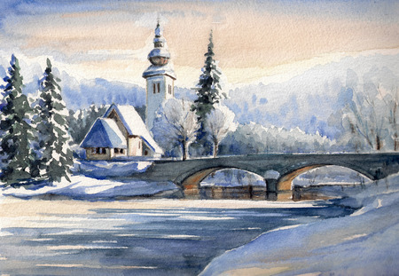 Winter mountain landscape with small church and bridge over river in Bohinj,Slovenia.Picture created with watercolors.