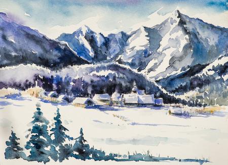 산 마을 겨울 풍경은 눈으로 덮여있다. 사진은 종이에 수채화로 만들었습니다. 스톡 콘텐츠