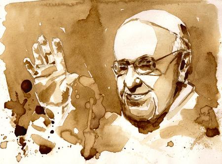 10 januari 2015: portret van Zijne Heiligheid Paus Francis.Picture gemaakt met koffie.