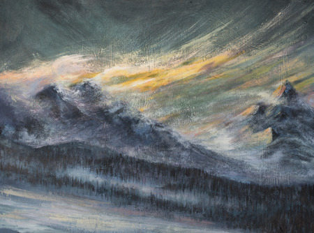 Landscape with snowy mountains and dark clouds.Picture created with acrylic colors.
