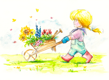 Girl with wheelbarrow full of flowers is going to her garden. Picture created with watercolors.