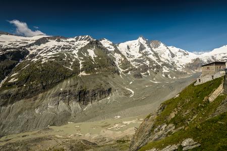 hohe tauern: Johannisberg summit,Grossglockner and Pasterze glacier in the Hohe Tauern National Park, Austria