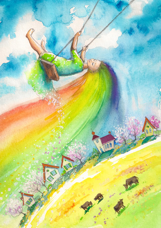 Spring with rainbow hair swinging above village.Picture created with watercolors.