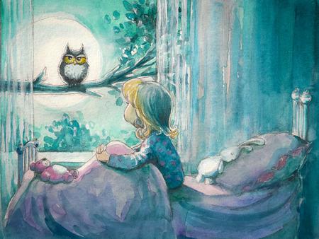Meisje in haar bed te kijken naar uil op een tree.Picture gemaakt met aquarellen Stockfoto