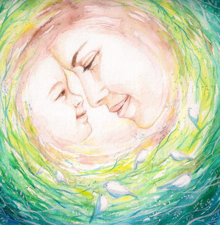 Aquarellen schilderij van de jonge moeder en haar child.Picture ik heb gemaakt op basis van de verbeelding. Stockfoto