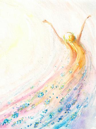 飛んでいる若い女性。春、自然、自由の概念。画像の水彩画を作成しました。