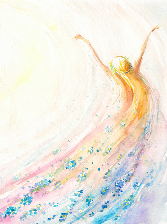 creativo: Mujer joven que vuela .spring, la naturaleza, la libertad concept.Picture creado con las acuarelas. Foto de archivo
