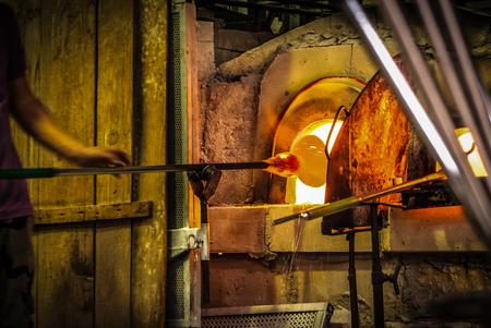 glasswork: Glassworks glass manufacturing process.Murano,Italy