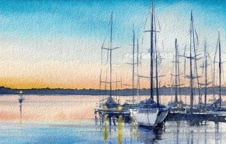 Summer landscape with sailboats in bay. Picture created with watercolors.