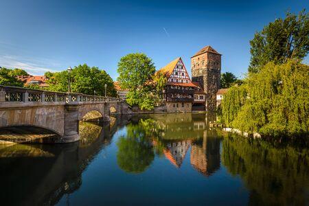 Bridges Nürnberg -Pegnitz Fluss, Bayern, Deutschland