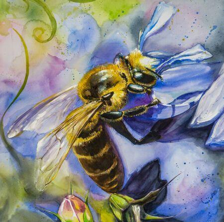 bee garden: Close up of honey bee on lobelia flower watercolors painted.