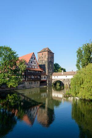bayern old town: Bridges of Nuremberg -Pegnitz river, Bayern, Germany