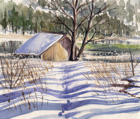 lake house: Watercolors painted winter landscape with small house close to lake and forest in background.